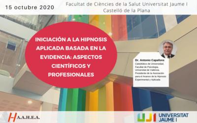 Iniciación a la hipnosis aplicada basada en la evidencia en la Universitat Jaume I (UJI) de Castelló de la Plana 2020